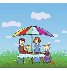 Family in the park vector