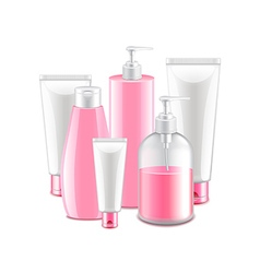 Pink cosmetic collection isolated on white vector