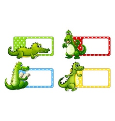 Polkadot labels with crocodiles vector image