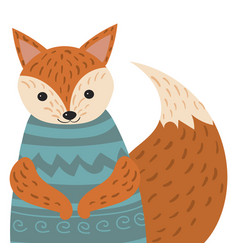 a cartoon portrait of a fox stylized happy fox in vector image vector image