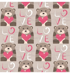 Bear with heart seamless pattern vector