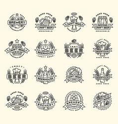 beer logo badges vintage craft old fashion vector image