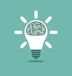 Big human brain inside shining lightbulb vector