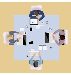 Brainstorming people top view vector