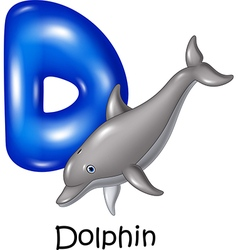 Cartoon of d letter for dolphin vector