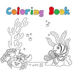 Cartoon under water coloring book vector
