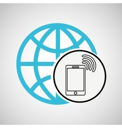 connection concetp globe smartphone wifi vector image
