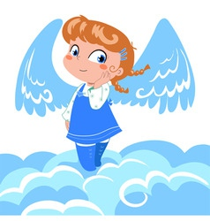 Cute little angel on clouds vector image