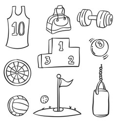 Doodle of sport equipment vector