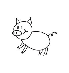 Doodle pig animal icon vector