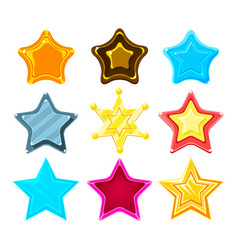 Five-point colorful cartoon star set for flash vector