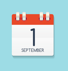 Flat calendar icon of 1 september vector