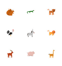 Flat icons camelopard wildcat swine and other vector
