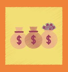 Flat shading style icon money bag vector