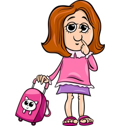 Grade school girl cartoon vector