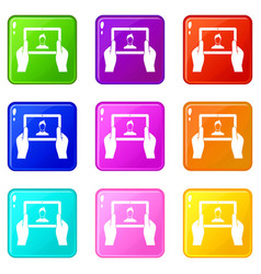 Hands holding tablet icons 9 set vector