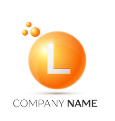 L letter splash orange dots and circle bubble vector