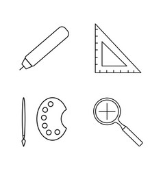 Office simple linear outline icon set vector