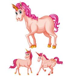 Pink unicorns on white background vector