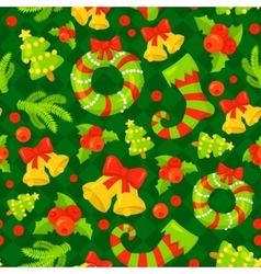 Seamless pattern with cute cartoon Christmas vector image vector image