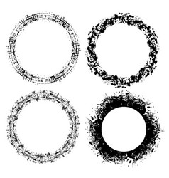 Set grunge round frames with scratches and place vector