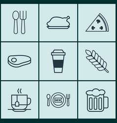 Set of 9 meal icons includes fresh dining vector