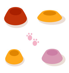 Set of multi-colored bowls for pets isolated vector