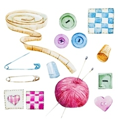 Sewing watercolor items vector