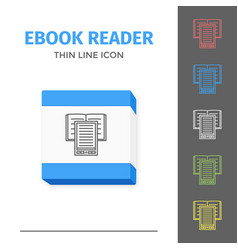 Thin lined ebook reader vector