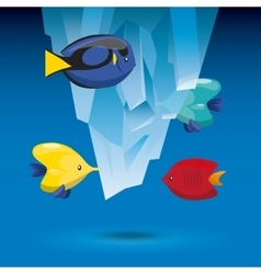 Tropical fish and iceberg icon sea life design vector