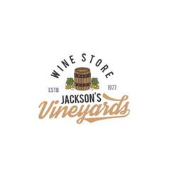 Wine shop logo label organic winesvineyard vector