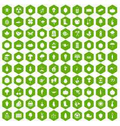 100 garden icons hexagon green vector
