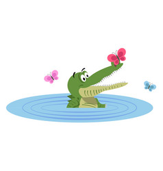 Cartoon crocodile swimming in lake with butterfly vector