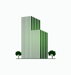 Green buildings and trees vector