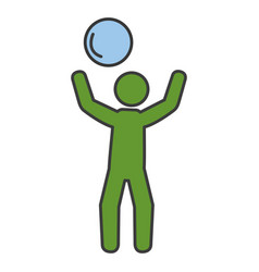 player with ball silhouette vector image
