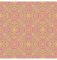 Colorful graphic flower pattern on pink background vector