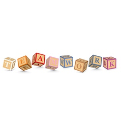 Word teamwork written with alphabet blocks vector
