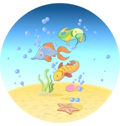 Fishes in ocean vector