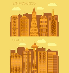 Set 2 flat background city san francisco and vector