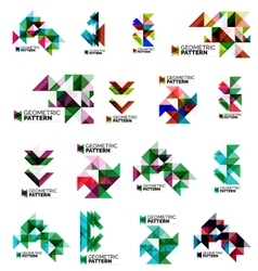 Set of color triangles geometric pattern elements vector