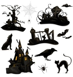Halloween set of black silhouettes vector image
