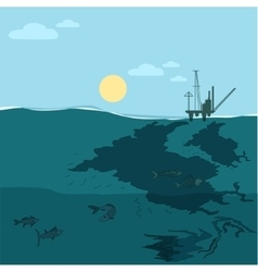 Oil platform in the ocean water pollution vector