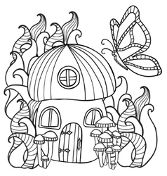 coloring pages mushroom house with a butterfly in vector image