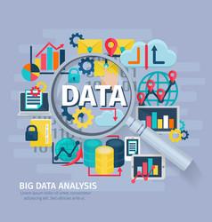 Big data analysis concept flat poster vector
