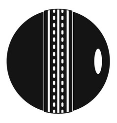 Black and white cricket ball icon simple style vector