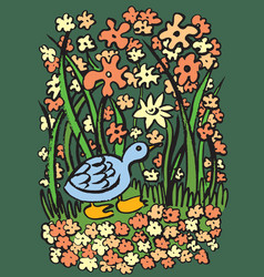 Blue duck on the river bank vector