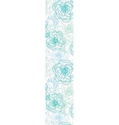 Blue line art flowers vertical border seamless vector