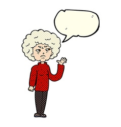 Cartoon annoyed old woman waving with speech vector