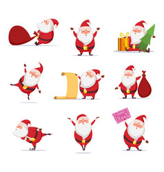 christmas symbols of funny cute santa different vector image vector image