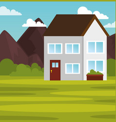 Country house landscape design vector